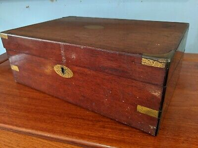 ANTIQUE wood VICTORIAN writing slope WOODEN BOX - needs restoration