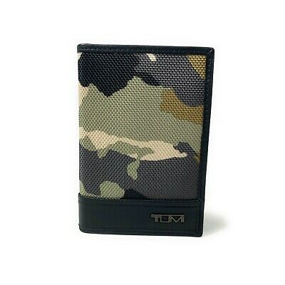 Tumi Desert Camo Folding Card Case with ID Window Black Leather Trim 113958