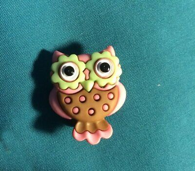 Cute WOOTIE WOOT OWL Bird PINK and BROWN Green EYES Holey Clog Charm Charms