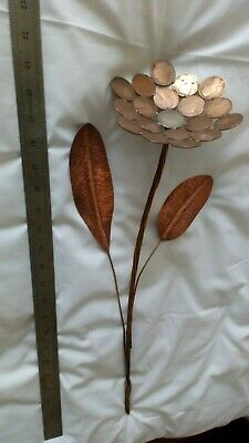 Arts and crafts Copper Flower 550mm tall made from c1800s copper&sliver coins