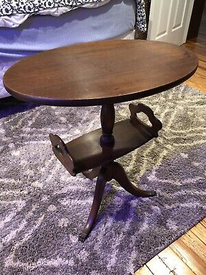 Antique BRANDT Claw Foot Wood Oval Side Table Furniture Vintage Three 3 Legged