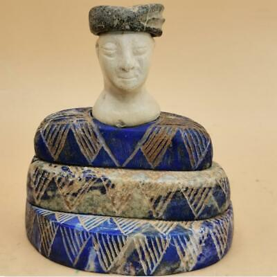 Ancient Bactrian Lapis lazuli  Stone Seated Diety Prince seated statue