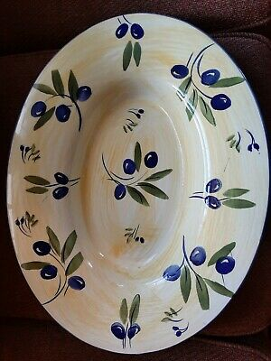 "Antica Forance Ceramiche De Tavola Yellow With Olives 20.5"" Pasta Platter"