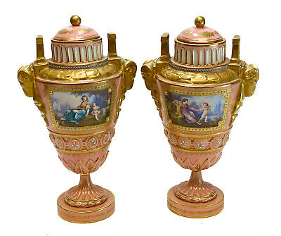 Pair Sevres France Porcelain Jeweled Enamel Lidded Urns, 19th Century