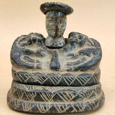 Backtrian King Ancient Stone Rare Seated 2 lions   idol Statue # 113