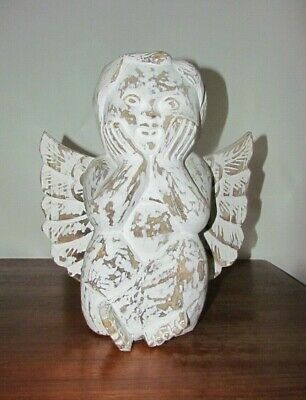 """Beautiful Hand Carved Wood and Painted Seated Angel Cherub Putti ~ 14.5"""" tall"""