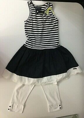 Jean Bourget Girls Outfit 2 Piece Set Dress Leggings Age 8 Years Navy Blue White