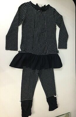 Lottum Girls Outfit 2 Piece Set Long Top Leggings Age 3-4 Years Navy Blue White