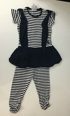 Stud Diamonds Girls Outfit 2 Piece Set Top Leggings Age 3 Years Navy Blue White