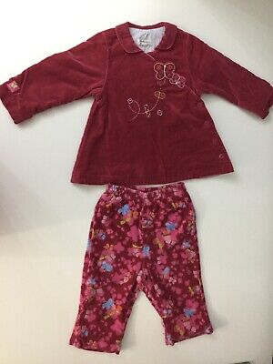 Catimini Baby Girls Outfit 2 Piece Set Age 18M Velour Pink Top Bottoms