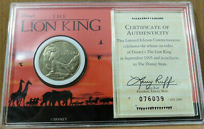 Disney The Lion King 1995 Disney Collectable Numbered Liberty royal mint COIN