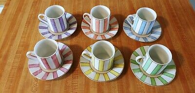 Classic Coffee and Tea Set - Stripes- Set of 6