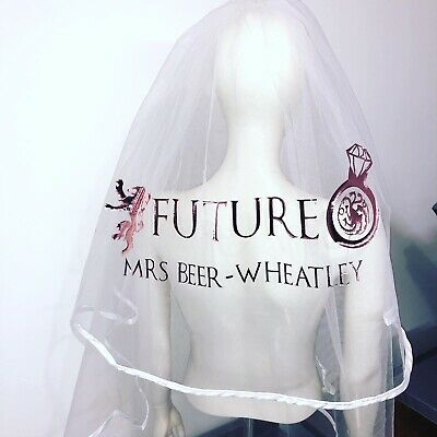 Personalised Veil Hen Party Rose Gold Glitter Bride Game Of Thrones Theme