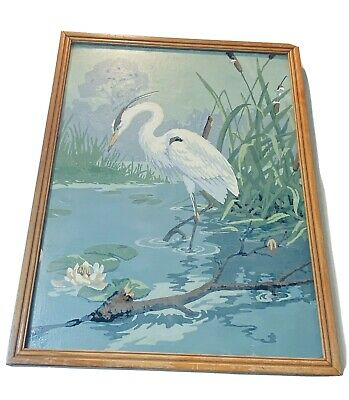 Vintage Paint by Numbers White Crane Bird Finished Painting Art Framed  17 x 13