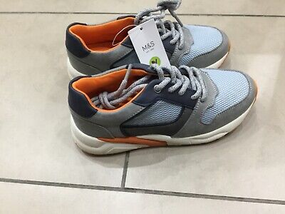 Marks & Spencer boys kids grey trainers - woven upper UK 13  freshfeet BNWT  £25