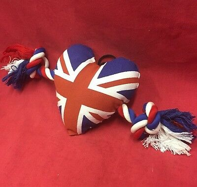 Dog Toy Canvas Heart with Rope Ragger 12 x 5 Inches UNION JACK