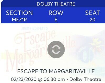 2 Tickets Escape To Margaritaville 2/23/20 Dolby Theatre Los Angeles, CA