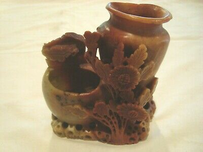 "A Beautiful Hand Carved Piece Ofsoap Stone  Marked Ward And China 5"" X 5"". 2 Vas"