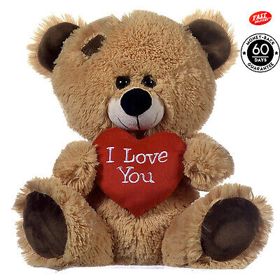 Brown Teddy Bear Holding Red Heart With I Love You, Lovely Valentine's Day Gift