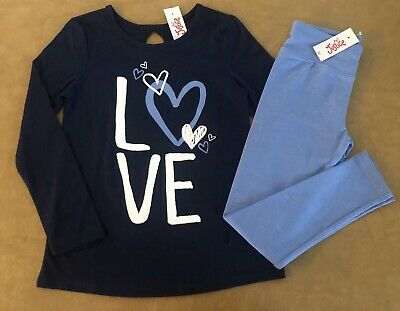 New Justice Girl Navy Love Graphic Tee & Blue Leggings Outfit 7 8 10 12 14 16
