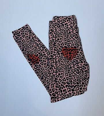 Lularoe Love Stories Valentine 2020 One Size Leggings OS Pink Cheetah Red Hearts
