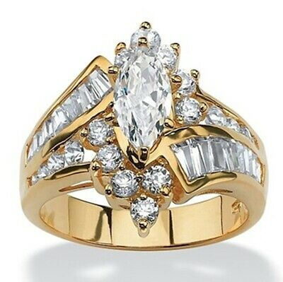 Fashion Marquise Cut White Topaz 18k Gold Plated Wedding Jewelry Ring Size8