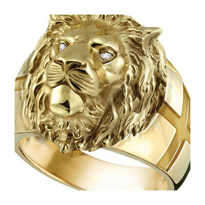 18K Yellow Gold Plated Lion Face White Topaz Ring Woman Wedding Jewelry Sz7