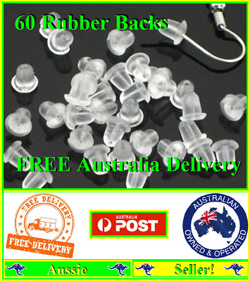 60 Rubber Bullet Earring Backs Stoppers Post Clutch Findings Stops Backings NEW