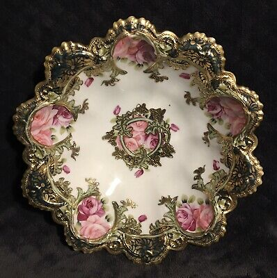 Antique Japanese Nippon Scalloped Gold Encrusted Hand Painted Rose Bowl