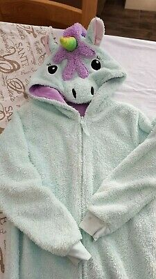 Girls M&S Unicorn All In One Pjs With Zip Age 11-12