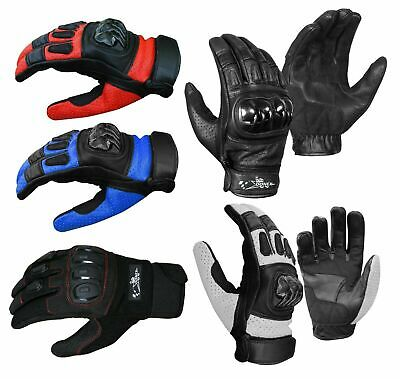 Leather All Weather Motorbike Motorcycle Gloves Carbon Fiber Hard Knuckle Gloves