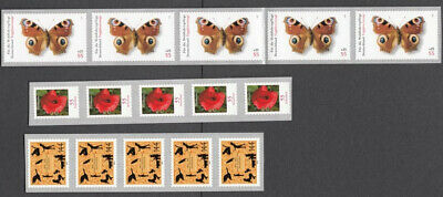 Germany 2005-2006 - Lot of 8 strips of 5 from rolls ** MNH