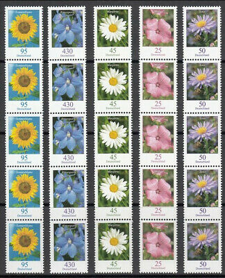 Germany 2005 - Lot of 10 strips of 5 from rolls ** MNH