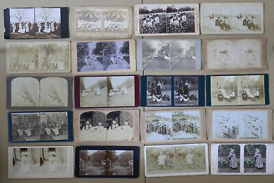20 stereoscopic / stereo cards late 19th, early 20th century. Interesting lot.