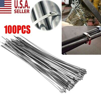 """100 Stainless Steel 12"""" Exhaust Wrap Coated Metal Locking Cable Zip Ties USA NEW"""