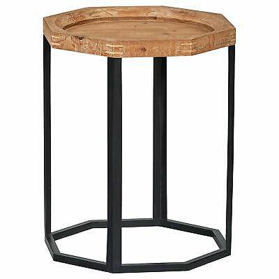 Distressed Wood Metal Farmhouse End Table Industrial Accent Natural Reclaimed
