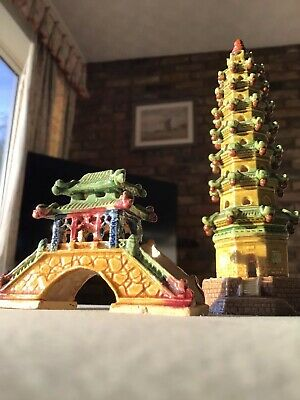 antique chinese pottery Pagoda And Bridge, Far East 1950/60s Nice Set