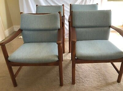 PAIR Mid Century Modern Danish Lounge Chairs Armchair  Leather Sling Arms