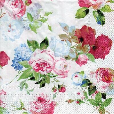 4x Designer PAPER NAPKINS for Decoupage MARY ROSES FLORAL