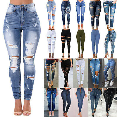 Women High Waist Ripped Denim Jeans Pencil Pants Skinny Stretch Jegging Trousers