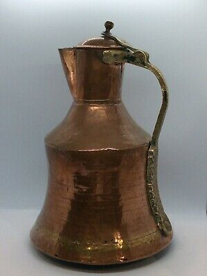 Antique Handcrafted Copper Hinged Lid Jug Pitcher. Brass Handle.