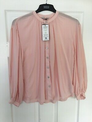 MARKS & SPENCER WOMENS PALE PINK BLOUSE, Size 8, Bnwt