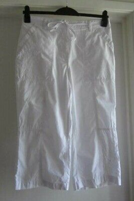 Marks and Spencer,cotton, size16,white,part elastic waist crop trousers
