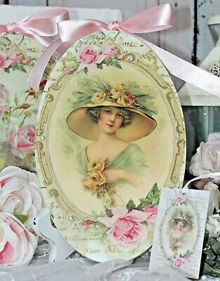 "Shabby Chic French Country Cottage style Wall Decor Sign ~ ""Woman with Roses"""