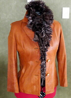 Nine-West Tan Leather Jacket - Womens LG - EXCELLENT