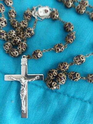 Catholic Rosary Capped Purple Beads Sacred Heart Crucifix Religious Vintage Old