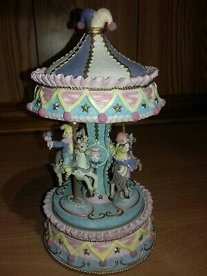 Vintage Shudehill Resin Wind Up Musical Carousel 8.5 Inches Tall