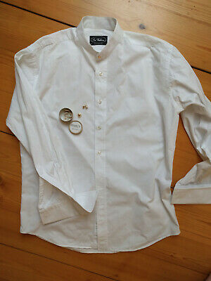 La Valiere Collarless 14.5 White Dress Shirt with Collar Studs (Darcy Clothing)