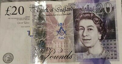 Freemason Stamped £20 Note