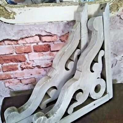 PAIR ANTIQUE RECLAIMED WOOD PORCH CORBELS Shelf Brackets CHIPPY VINTAGE COTTAGE